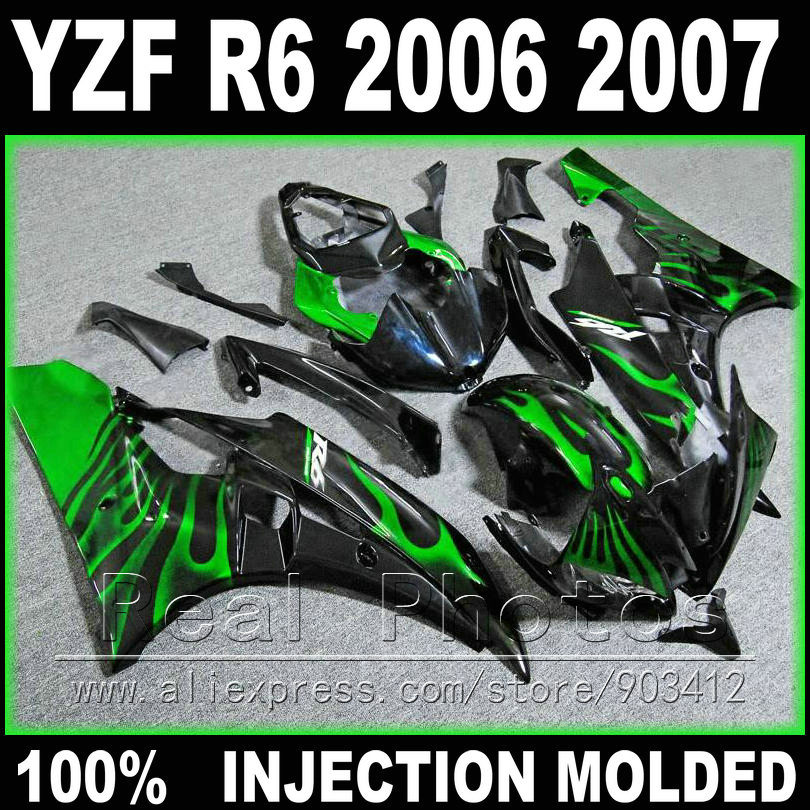 High quality bodywork for YAMAHA R6 fairing kit 2006 2007 Injection molding green flame in black 06 07 YZF R6 fairings high quality abs fairing kit for yamaha r1 2002 2003 red flames in black fairings set injection molding yzf r1 02 03 yz32