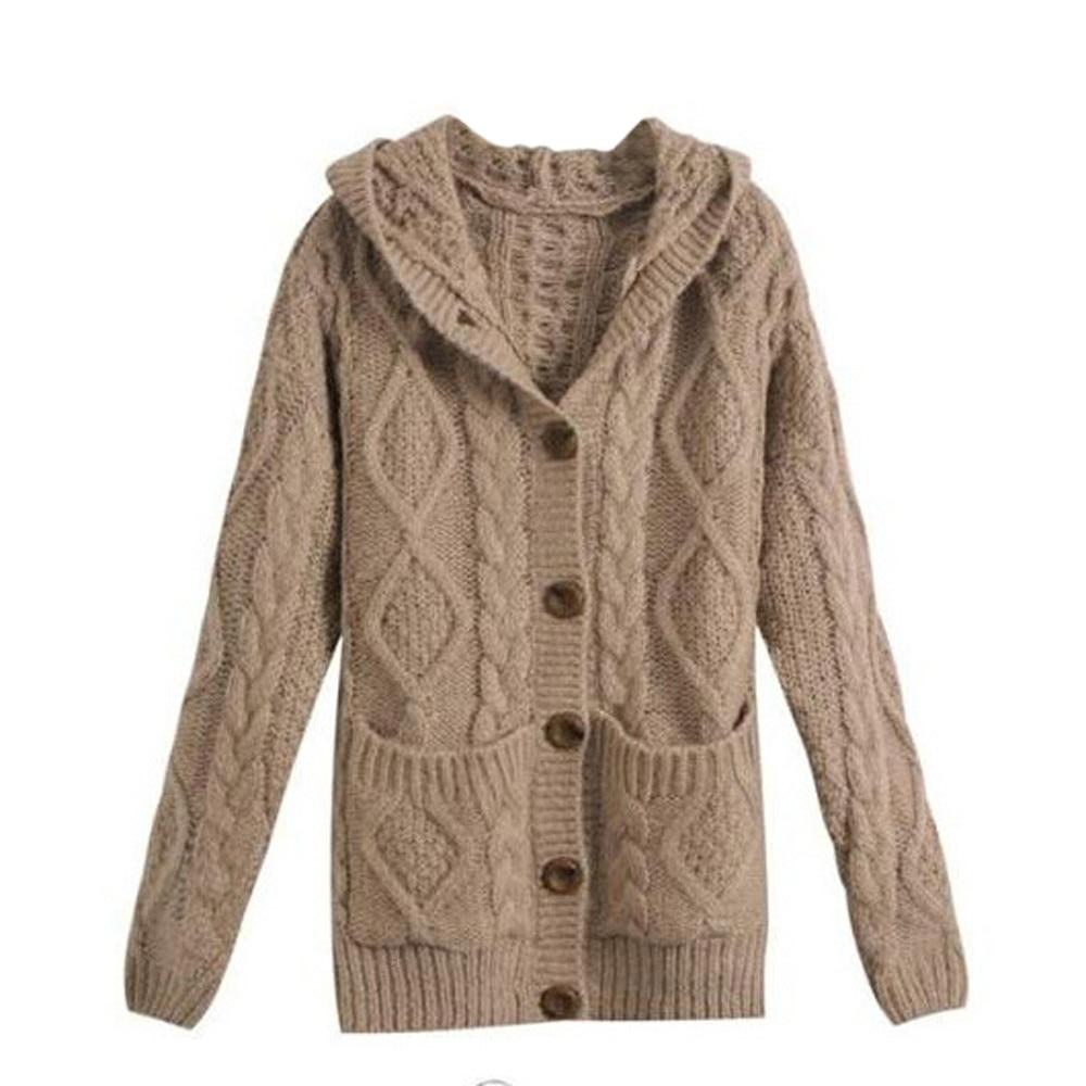 Korean Knitwear Women Hooded Long Sleeve Cardigan Sweater Coat ...
