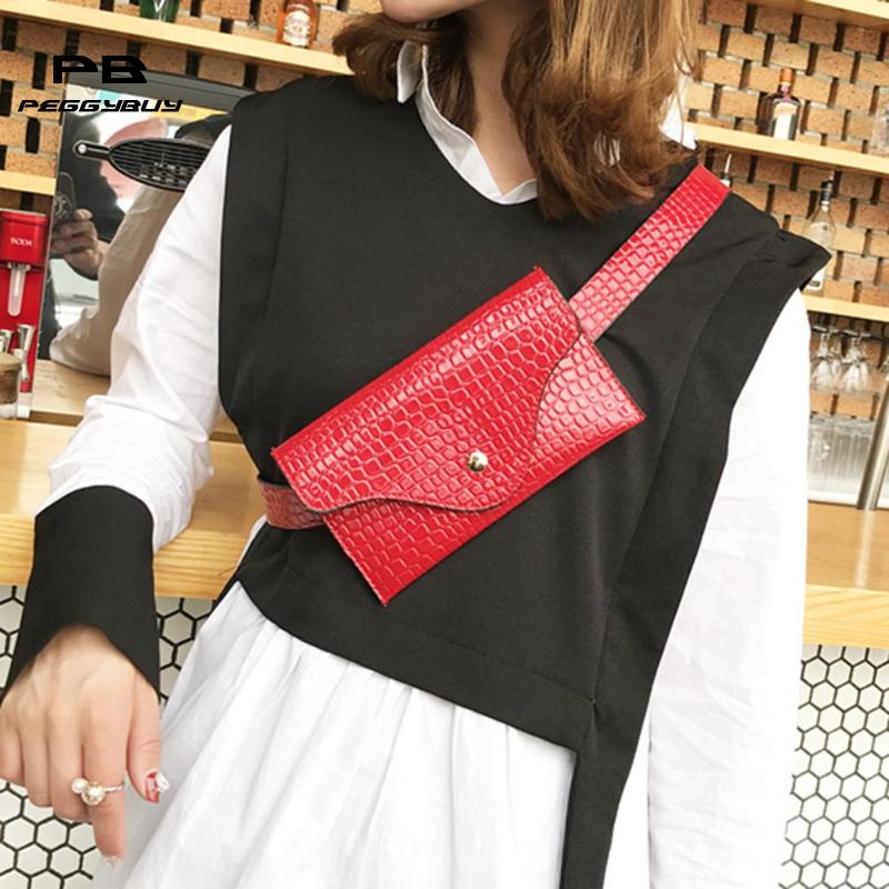 Simple Waist Bag Ladies Mini Waist Packs Fanny Pack Brand Design Pouch Women's Red Mini Coin Purse Belt Bag Pockets Bolsos Mujer red lace up design stripe drawstring waist ruffle hem mini skirts