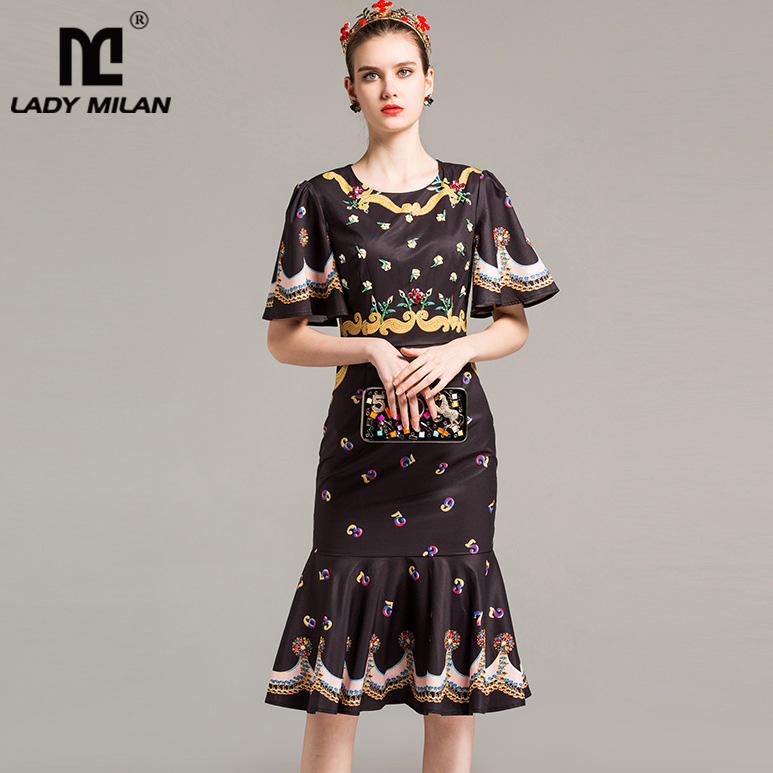 New Arrival 2018 Womens O Neck Half Flare Sleeves Floral Printed Ruffles Fashion Designer Mermaid Dresses