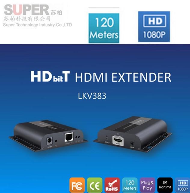 LKV383 CAT6 HDBitT Extender IR Transmission TX/RX HDbitT HDMI Extender 150M 1080P HDMI Extender Receiver& Transmitter adapter