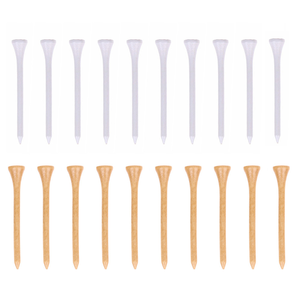 10pcs/set  Wooden Golf Tees Sports Entertainment Accessories Wooden Golf Ball Nails Golf Training Equipment White Log Color