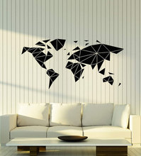 Vinyl wall applique abstract geometric multifaceted earth map sticker, home living room fashion sticker DT09