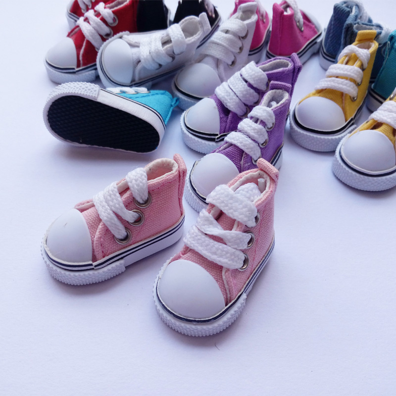 1Pair Retail Doll Accessoarer Cavans Doll Shoes 5CM Skor För BJD Doll 1/6