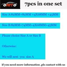 Alta Funcionalidad PVC 7 unids/lote emblem kit 82mm 74mm 4x68mm 45mm de dirección sticker wheel caps Opción Tamaño A o B de Tamaño del coche caps