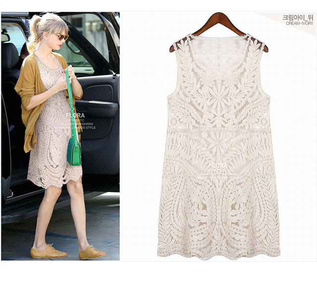 Discount lace embroidery hook flower long transparent in summer The seaside beach bikini smock dress woman colthing