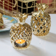 PINNY Nordic Gold Plated Pineapple Candlestick Home Decoration Accessories European Romantic Ceramic Candle Stand