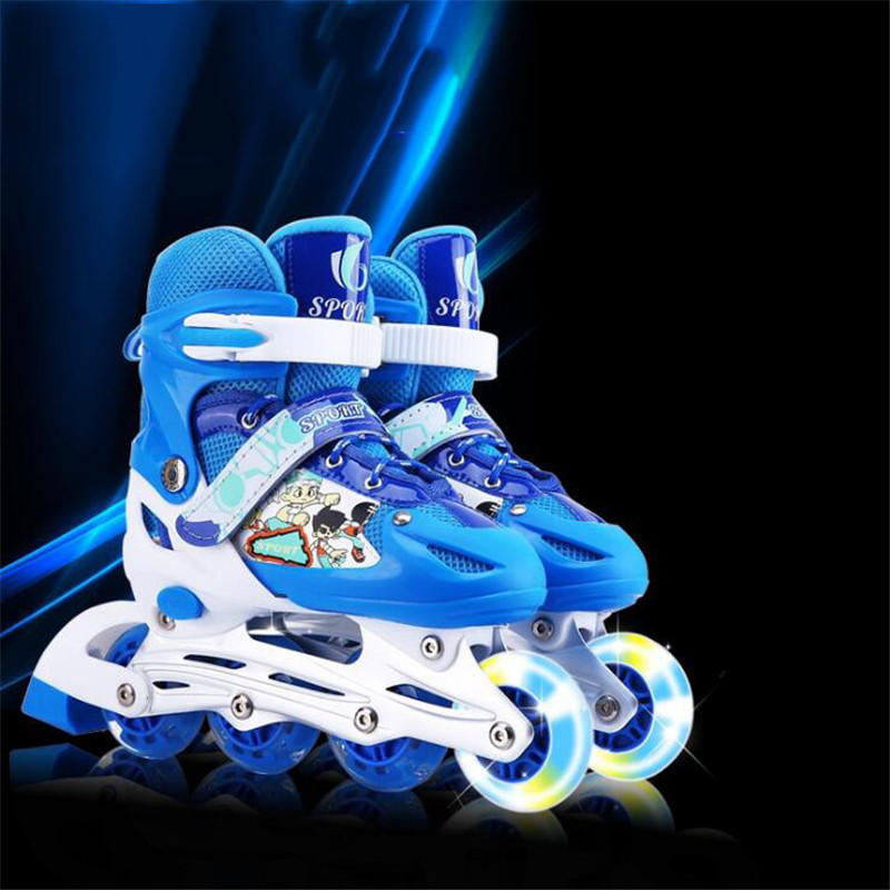 Flash Inline Skates Shoes for Kids Children Roller Skating Shoes Adjustable Single Flashing Wheel Free Skating Patines цены онлайн