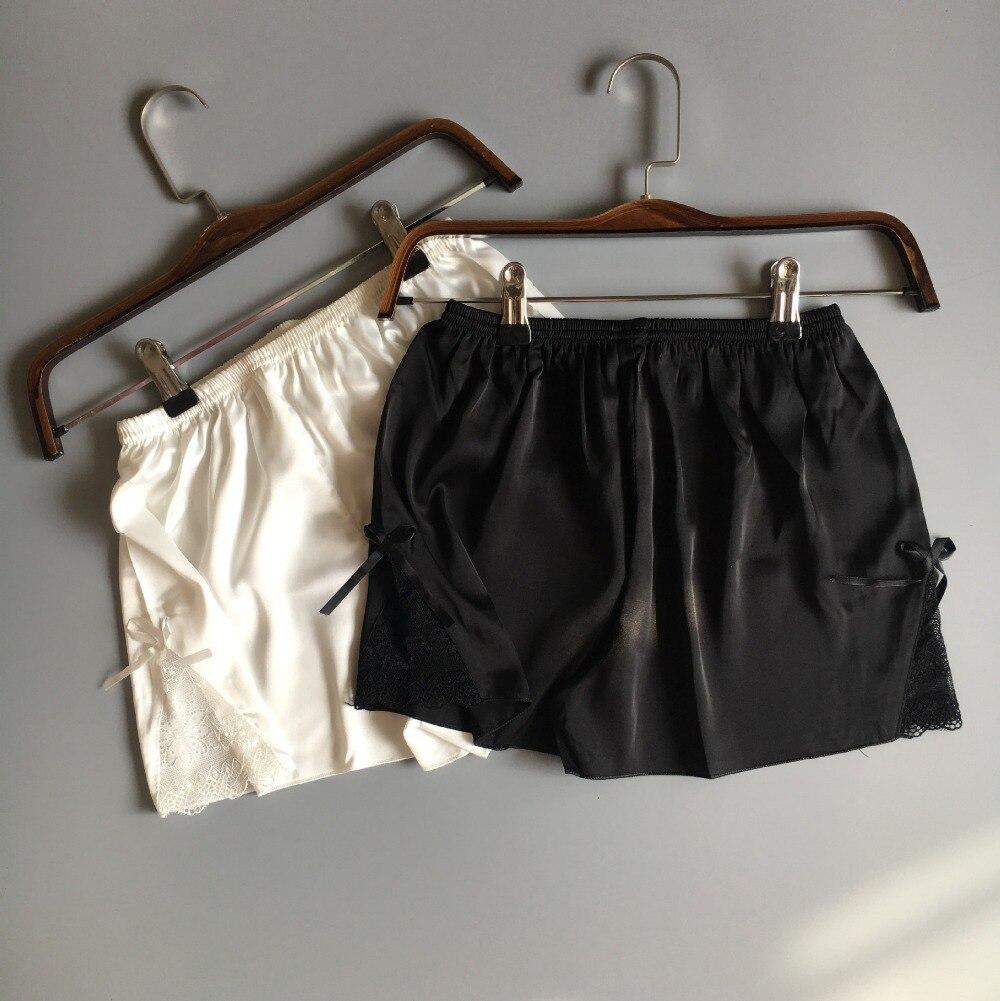 2017 Summer New Fashion Black Silk Pajama Bottoms Pants For Home Sleep Shorts Pajamas Pants Plus Size Lace Pijamas Pants E1171