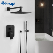 FRAP bathroom shower faucet brass set black rainfall shower set mixer taps bath tub faucets waterfall Bath Shower system golden rainfall shower faucets set brass wall mounted shower with hand shower mixer for bathroom