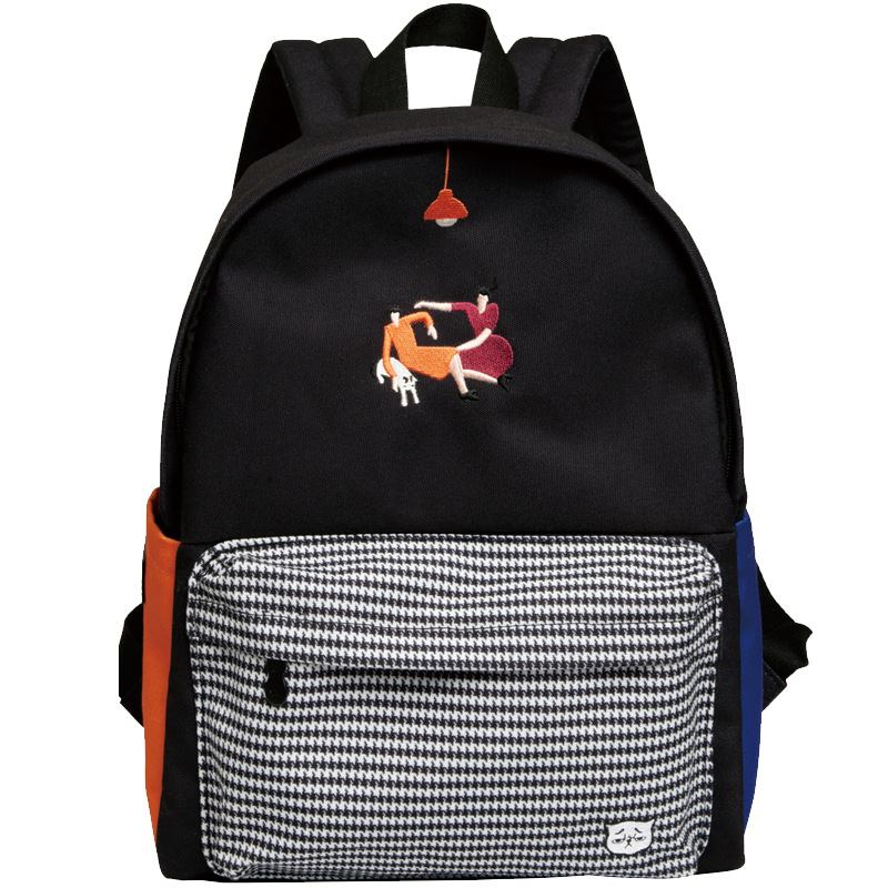 YIZISTORE Original Design Women  Casual Canvas Backpacks School Bag For Teenagers Angel Embroidery Stripes Print Unisex-in Backpacks from Luggage & Bags    3