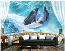 3d wallpaper custom 3d wall murals wallpaper balcony sea ocean dolphin background wall paintings 3d living room photo wallpaper(China)