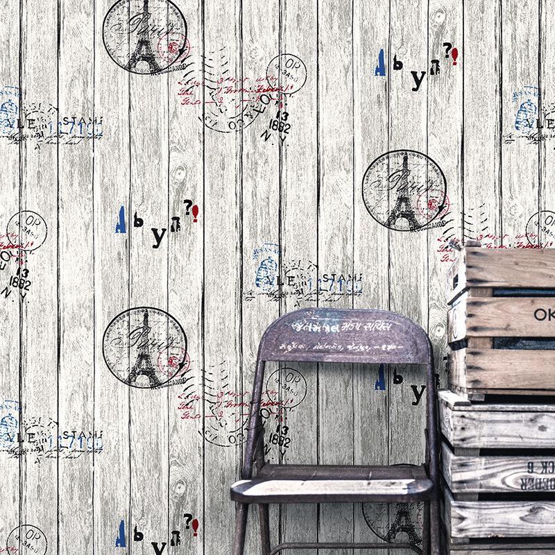 Papier peint à rayures en bois de style vintage