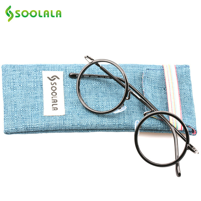 SOOLALA Womens Men Titanium Reading Glasses +1.0 +1.5 +2.0 +2.5 +3.0 +3.5 Diopter Vintage Round Frame Presbyopia Glasses