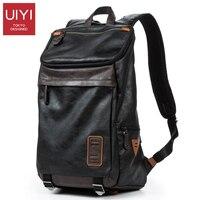 UIYI Men S Backpack PU Leather Laptop Shoulder Bags Multi Pocket Soft Leather Male Black Backpack