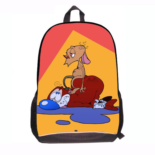 Moda de dibujos animados Ren y STIMPY niños del bolso de escuela comprar niños escuela de nueva 2015 Ren y STIMPY impresión mochila mochila