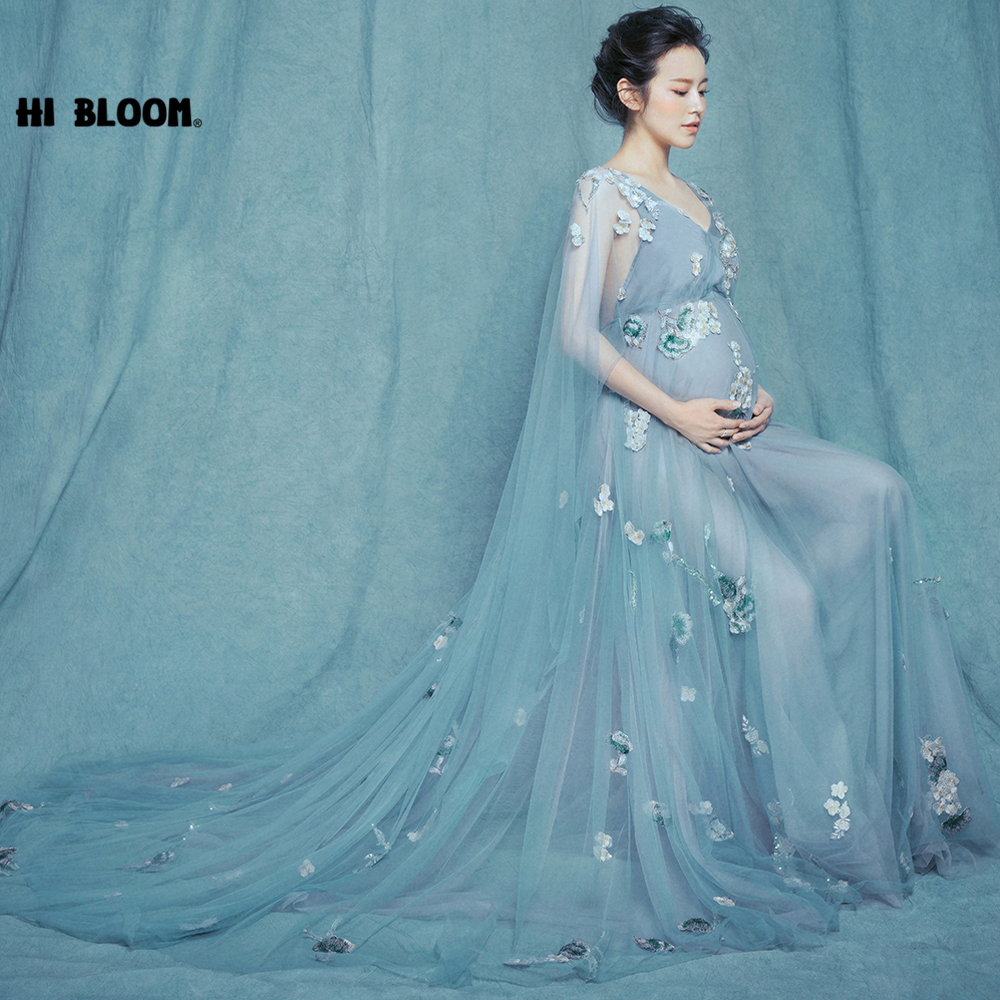 Blue Pregnant Womans Photography Poses Dresses Flower Embroidery Maternity Party and Photoshoot Gown Dress Pregnancy VestidosBlue Pregnant Womans Photography Poses Dresses Flower Embroidery Maternity Party and Photoshoot Gown Dress Pregnancy Vestidos