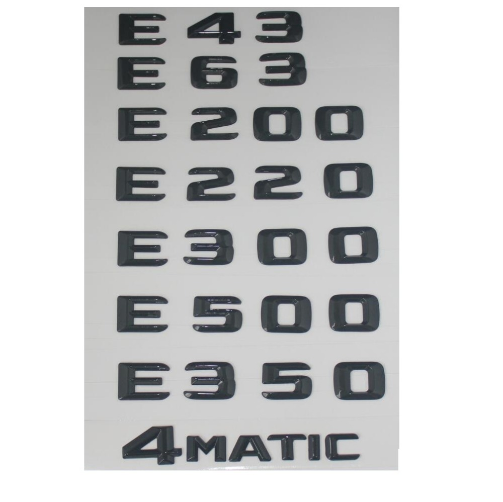 Gloss Black Trunk Letters Badge Emblem for Mercedes Benz E43 E63 E55 AMG E320 E350 E300 E200 E400 E500 E250 E550 E420 4MATIC