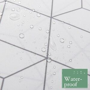 Image 4 - Aimjerry rideau de douche en tissu pour baignoire blanc et gris, pour salle de bain, avec 12 crochets, 71W x 71H, imperméable et anti moisissures de haute qualité 041