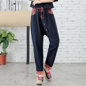 TUHAO 2018 spring Vintage Womens trouser Loose Cotton Linen Pants Elatic Waist Straight Button Pocket casual Harem Pants MS26