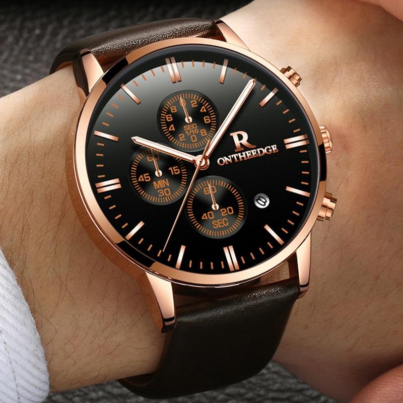 Men watches New Fashion Business quartz Watches Men Casual Genuine Leather Calendar men's Watches Luxury Waterproof Wristwatch