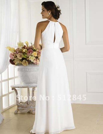 YD 12061192 Lovely White Necklace Halter Chiffon Civil Wedding ...