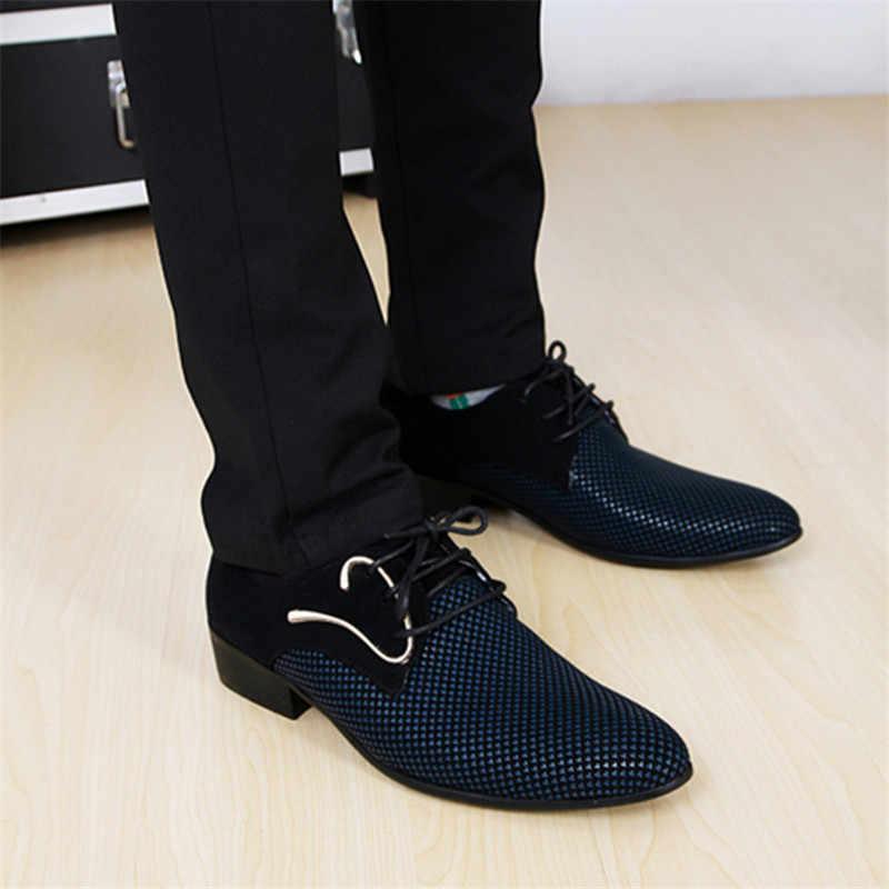Sapatos concisos masculinos de couro sapatos de negócios vestido de xadrez pontiagudo preto sapatos de casamento formal respirável sapatos básicos masculinos 2019 mocassins