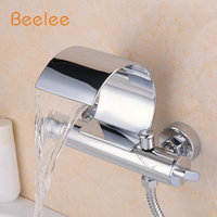 Beelee Q3025W Wall Mount Bathtub Faucet Two Cristal Handles Bathtub Shower Mixer Tap Bath shower faucet