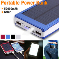 50000mAh Solar Charger Dual USB Solar Power Charger External Battery LED Light Power Bank With Charger Adapter Protable Outdoor