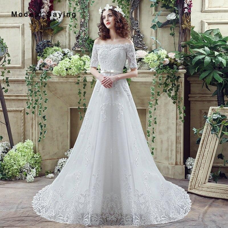 Elegant Ivory A Line Off Shoulder Half Sleeves Lace Wedding Dresses 2017 Formal Church Bridal Gowns Vestido De Noiva Custom Made In From