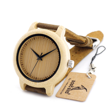 BOBO BIRD A09 Men's Bamboo Wooden Quartz Unique Wristwatch Lightweight With Japanese Movement In Gift Box