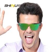 SHINU BRAND Unisex Sunglasses One Piece Glass Anti Reflective UV400 Women Men Sun Glasses Brand Designer Eyewear SH71001