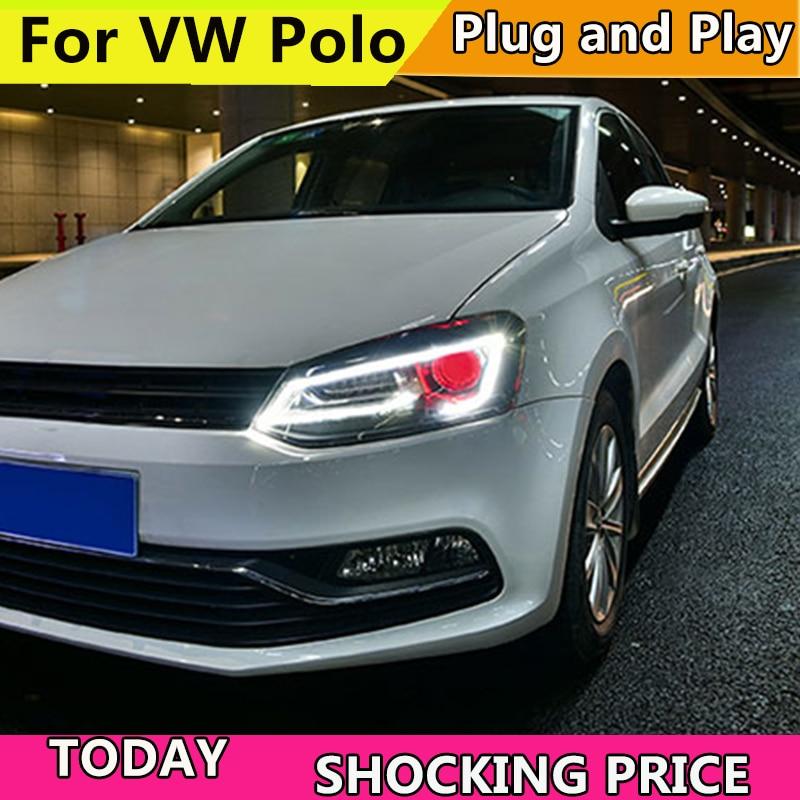 Автомобиль Стиль светодиодный фары для VW Polo 2011 2016 для VW Polo фары объектив двойной луч H7 HID xenon bi xenon объектива