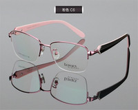 DOWER ME Fashion Women Elegant Luxury Half Rim Progressive Multi-focal Lens Optical Purple Pink Reading Eyeglasses ZM3075
