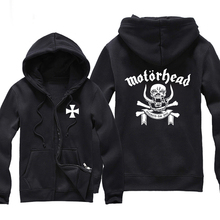 Heavy Metal Motorhead Skull Head Letter Men Zipper Hoodies Print Male Black Hoodie Hooded Sweatshirt Winter Hoody Clothes Swag