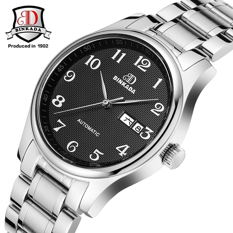 Best Quality! Lowest Price! 2017 BINKADA New Black Dial Automatic Mechanical Watch Waterproof Watches Male Classic Fashion Watch high quality best price 22 mm mechanical seal