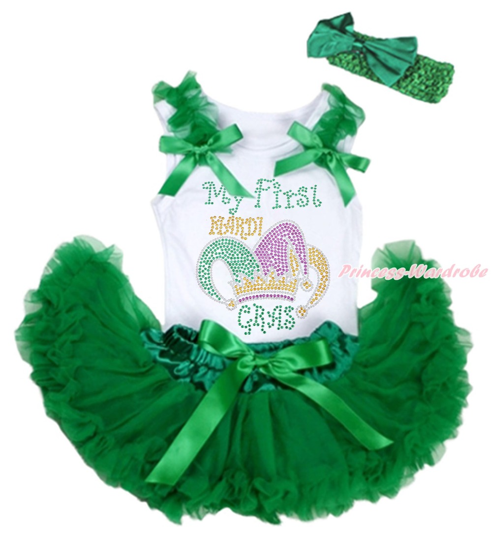 MY 1ST Mardi Gras Clown Hat White Top Green Girls Baby Skirt Cloth Outfit 3-12M my 1st christmas santa claus white top minnie dot petal skirt girls outfit nb 8y