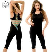 Women Yoga Pants Sexy Bandage Bodysuits V Neck Designer One Piece Yoga Jumpsuit Monos Backless Sportwear