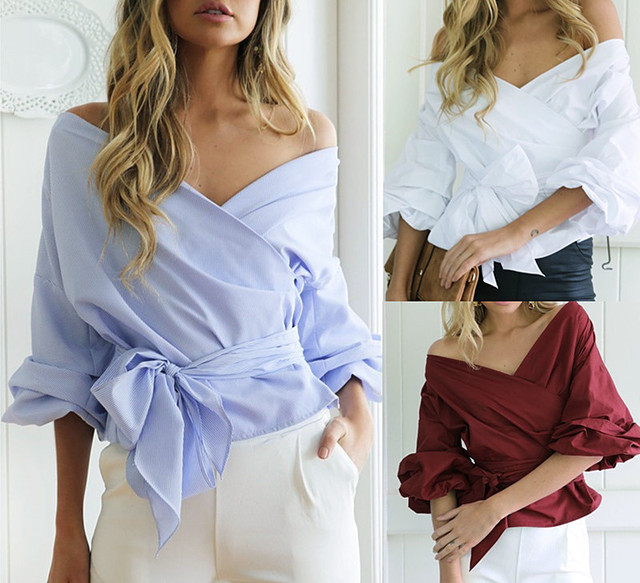 9fce88aa48b US $12.55 |Women New Fashion Chic Blouse V neck Off shoulder balloon sleeve  bowknot waist ladies elegant Top high quality Free Shipping-in Blouses & ...