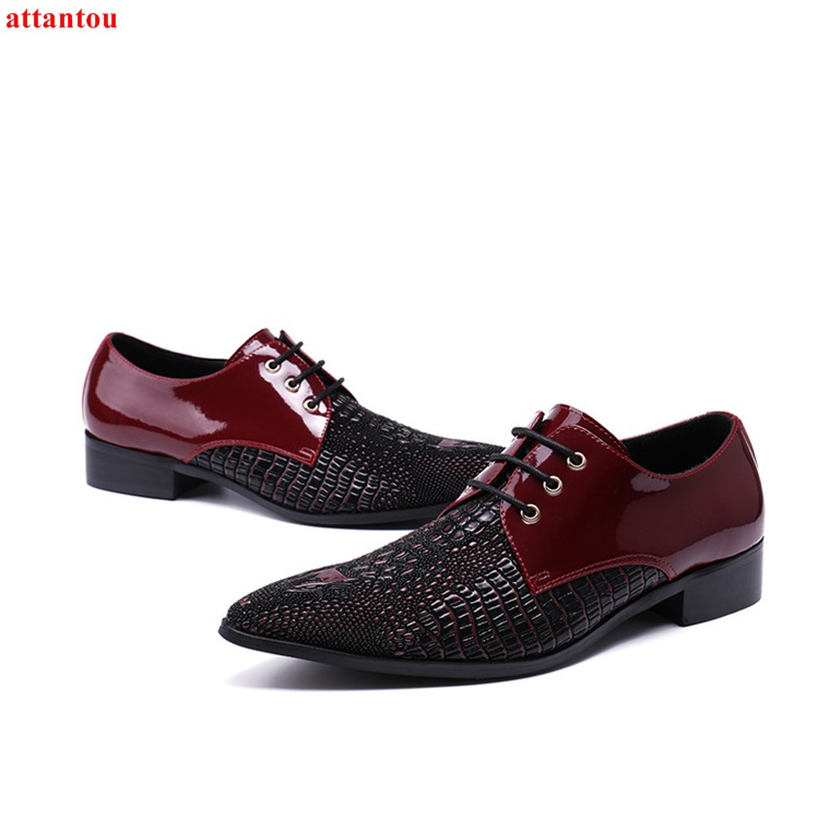 Lace Up Men's Leather Shoes Wine Red Single Shoes Pointed Toe Luxury Male Casual Shoes Man Office Meeting Feast Formal Shoes high quality gold plated eu schuko version power cord plug iec female connector extension adapter