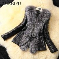ALABIFU PU Leather Faux Fur Women Coat 2019 Casual Plus Size 5XL Short Fluffy Coat Black Faux Fur Collar Jacket Coat casaco