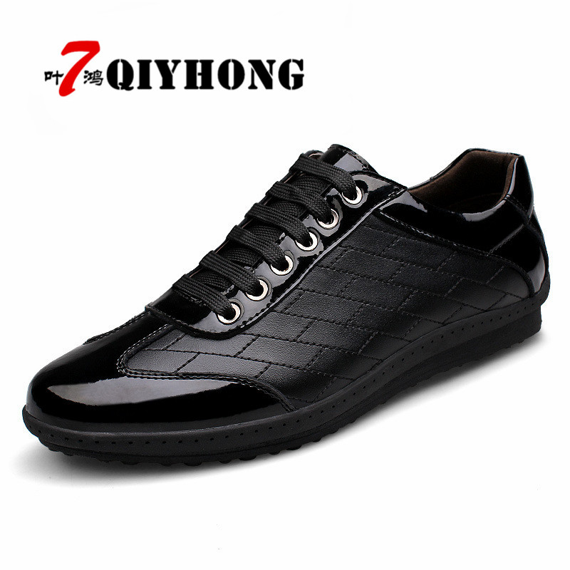 QIYHONG Brand New 2018 Fashion Spring/Autumn Genuine Leather Men Shoes, Men Casual Shoes, Luxury Brand Leather Shoes Men 2017 new spring imported leather men s shoes white eather shoes breathable sneaker fashion men casual shoes