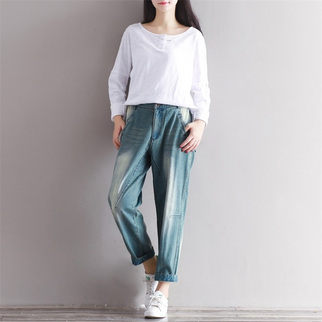 a0198eed558 2019 Spring Summer Baggy Jeans Woman Plus Size Trousers Pantalones Mujer  Ripped Jeans for Women 3XL Jean Femme Korean Style New