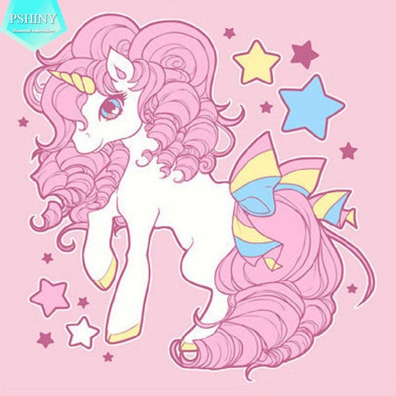 Pshiny 5d Diy Diamond Embroidery Sale Pink Cartoon Unicorn Picture