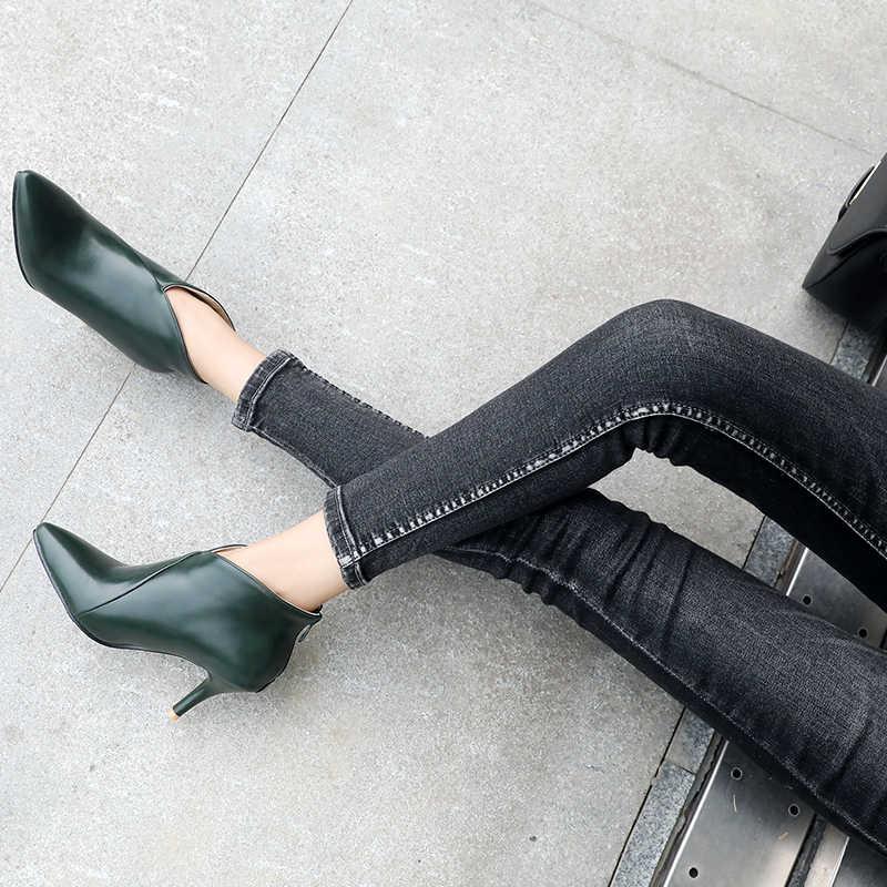 2018 Büyük Boy Kadın Botları Moda Sivri Burun Yüksek Topuklu kadın ayakkabısı Seksi Sonbahar Kış yarım çizmeler kadın