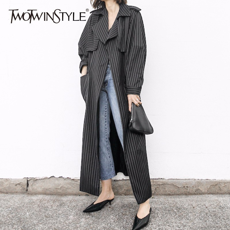 TWOTWINSTYLE Sashes Windbreaker Ladies Striped Lapel Collar High Waist Patchwork Vintage   Trench   Coat For Women 2018 Sring OL New