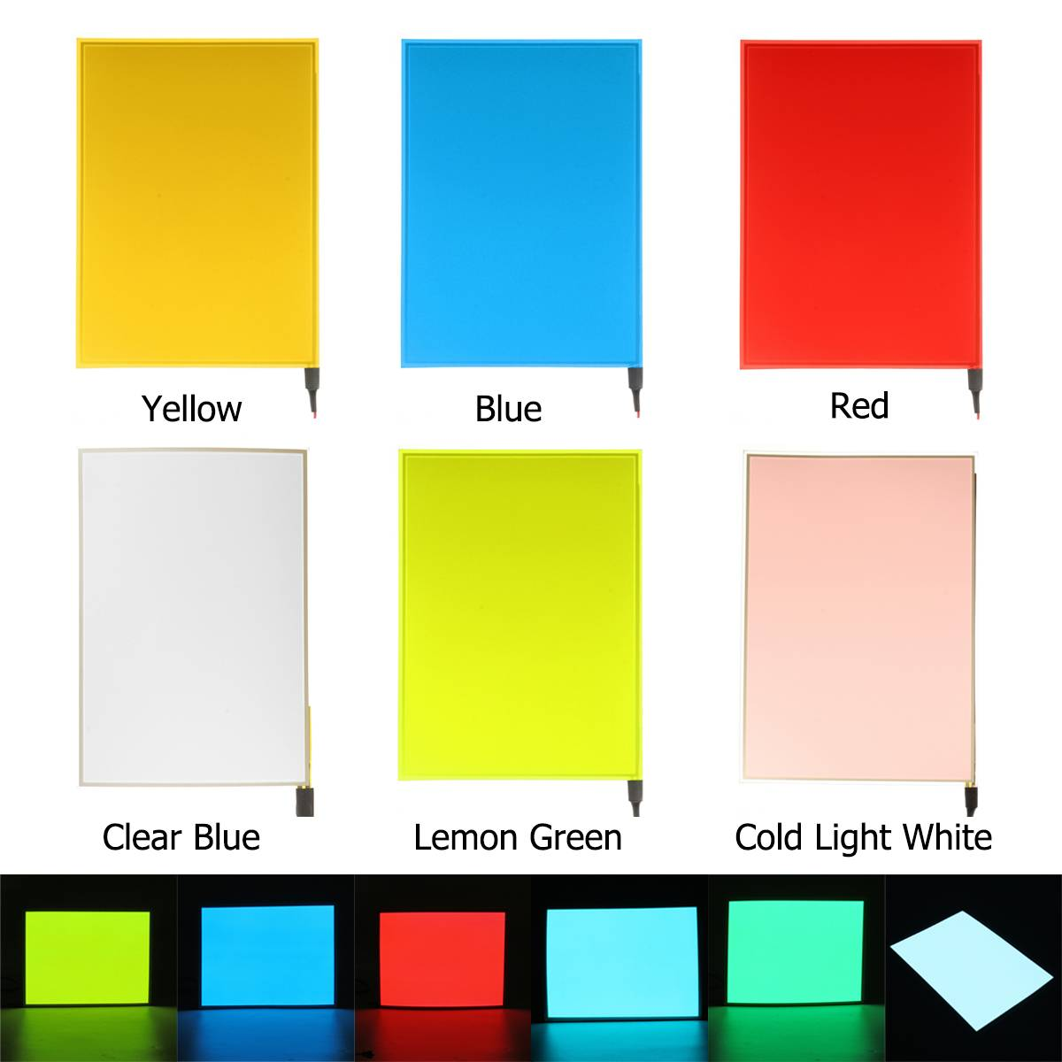 New Electroluminescent A4 EL Panel White //Aqua //Blue //Red Glow Paper Neon Sheet
