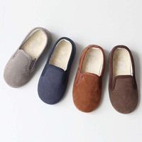 BBK Korea Winter 2016 Boys Shoes Warm Plush Padding Slide Wild Suede Shoes Plus Velvet Kids