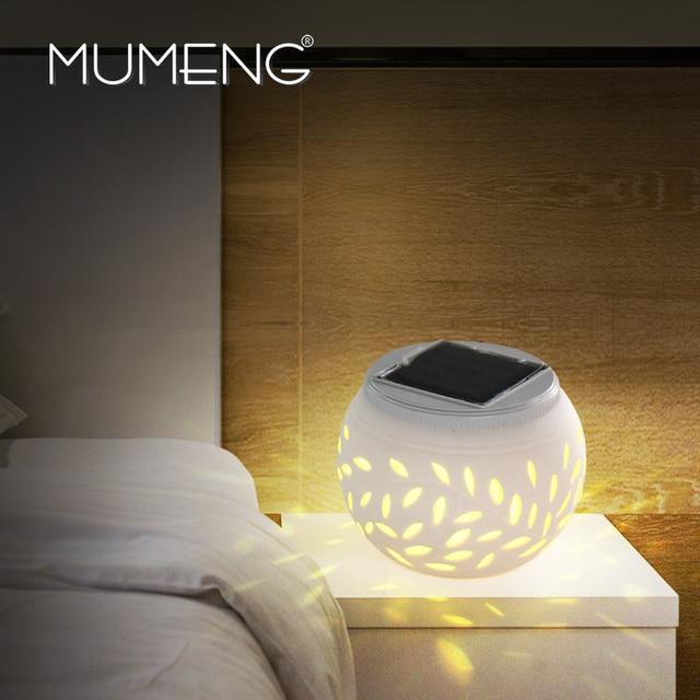 Mumeng rgb ночной свет солнечной настольная лампа light control красочные декоративные спальня огни керамика лист шаблон подарок luminaria