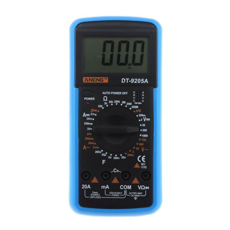 ANENG DT-9205A multímetro Digital Multimetro amperímetro Multitester AC DC LCD Display profesional eléctrica Handheld Tester Meter